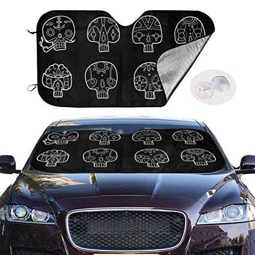 mchmcgm Skulls Chalk Auto Windwhield Sun Shades Universal Fit 51,2 x 27,6 Inch Window Keep Your Vehicle Cool Visor for SUV Sunshade Cover