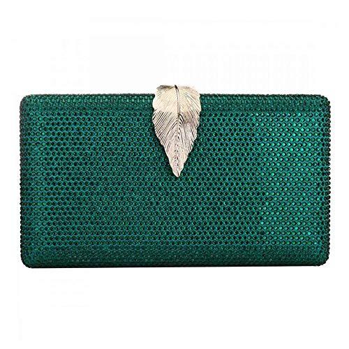 Damen-Clutch mit Strasssteinen, Abendtasche, für Hochzeit, Party, Abschlussball, Handtasche Gr. One size, grün