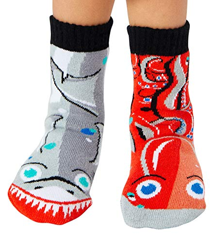 Shark & Octopus Collectible Mismatched Ocean Friends Animal Kids Socks for Boys Girls (Ages 9-12)