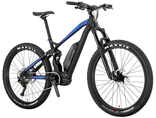 "Motobecane Electric Dual Suspension E8000 Mid Drive HAL Eboost Pro 1 x 11 XT (Matt Black/Blue, 42cm - 5'8"" to 5'10"")"