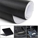 YAOBLUESEA 4D Film Autocollant Voiture Vinyle Fibre de Adhésif Carbone pour Voiture Extérieur et Intérieur Décoration 30 X 200cm Noir