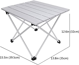 Grope Small Folding Camping Table with Aluminum Table Top Ultralight Outdoor 15.5 inches x 13.8 inches Collapsible Roll Up Folding Beach Camp Table with Carrying Bag (White)