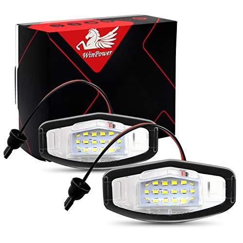 WinPower LED Luces de matrícula para coche Lámpara Numero plato luces Bulbos 3582 SMD con CanBus No hay error 6000K Xenón Blanco frio para Civic/City 4 puertas/Legend/Accord 4 puertas etc, 2 Piezas
