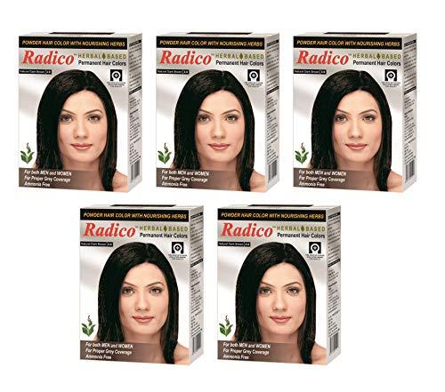Radico Dark Brown Herbal Hair Color With Natural Henna & Herbs (Ammonia Free) (5 in 1)
