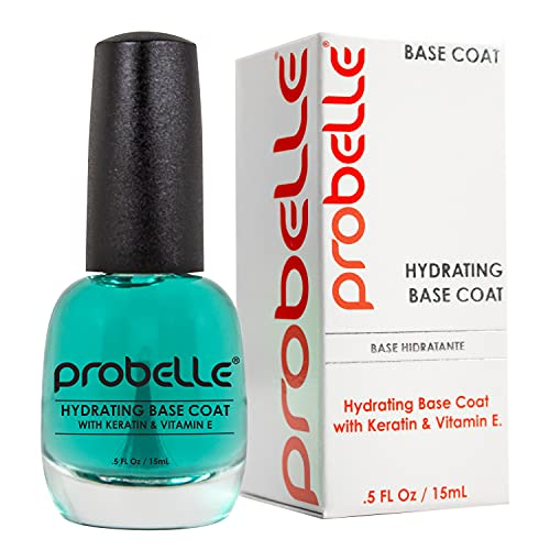 Probelle Hydrating Base Coat for dry nails and brittle nails - Keratin and Vitamin E restore nails to a hydrated state, 0.5 fl oz/ 15 mL