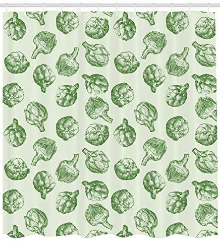 /N Cortina de Ducha de alcachofa Estampado Verde y Alimentos Frescos para baño
