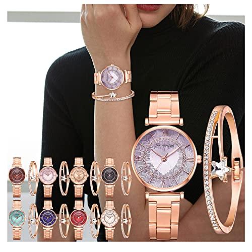 Crystal Starry Sky Armbanduhr Luxus Damen Diamant Armband Set, Sayla Mode Edelstahl Band Uhren, Damen Strass Armbanduhr Schmuck-Geburtstag, Hochzeit, Valentinstag