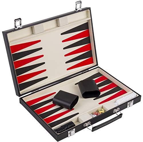 Engelhart - 250505- Backgammon 15 inch in zwart PU koffer