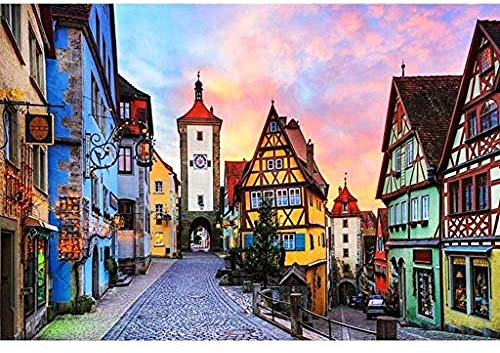 Jigsaw Puzzles 1000 Pieces for Adults,Teens, Germany Rothenburg Landscape Wooden Jigsaw Puzzle 1000 Pieces