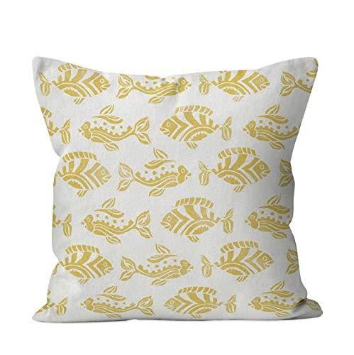 43LenaJon Fundas de almohada de lino y algodón, color amarillo mostaza, diseño tropical