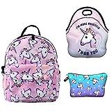 HELLATHUND Mini Backpack Kleiner Rucksack Set Kinderrucksack für 3-5 Jährige im Kindergarten Mit Lunchpaket 3pcs/set - Einhorn (B)