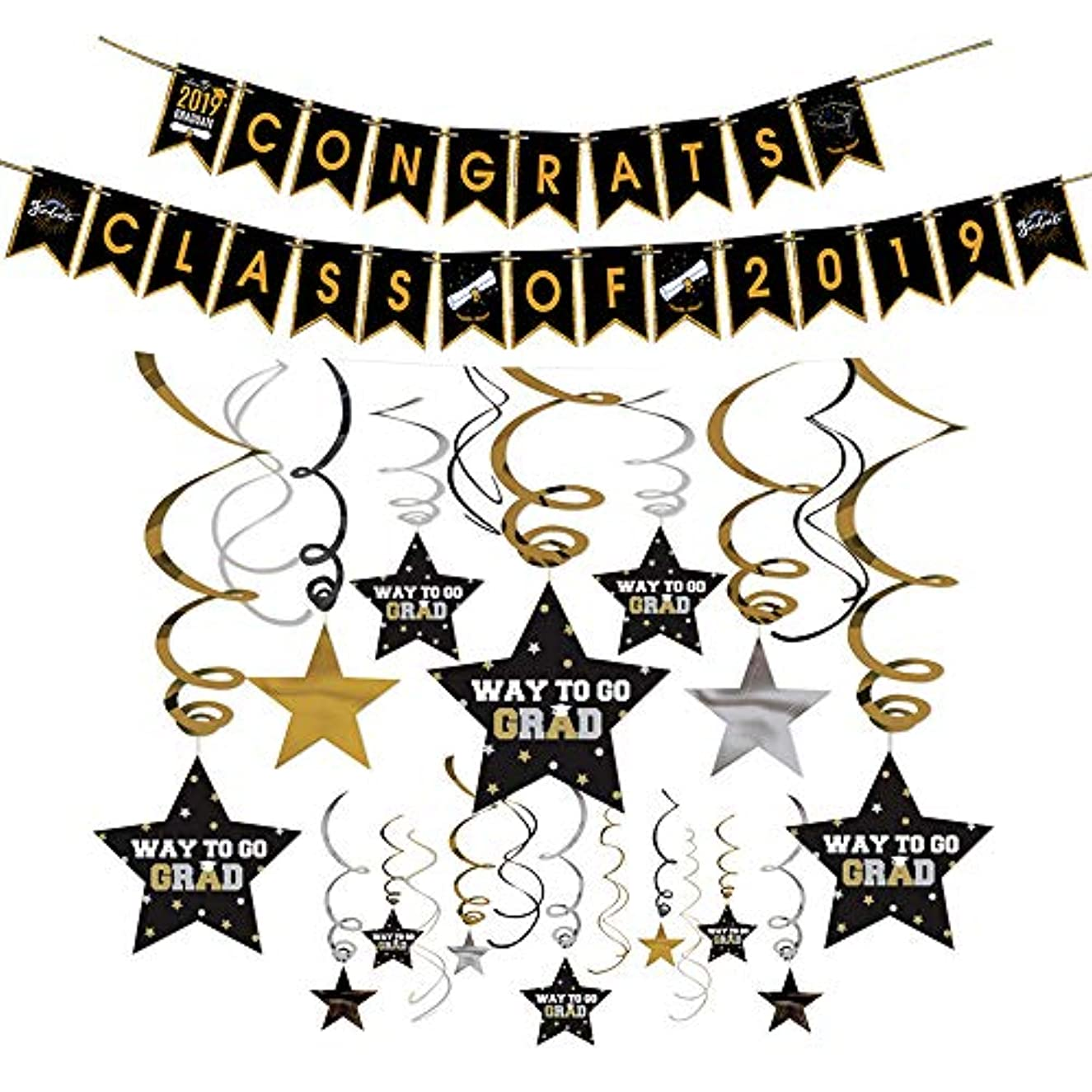 Congrats Class of 2019 Graduation Banner and Star Foil Ceiling Hanging Swirls Kit Party Streamers for Graduation Party Decorations