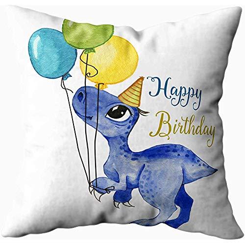July kussenslopen, getekend door Cartoon dinosaurus met kleurrijke ballonnen groet verjaardagskaart, zwart geel
