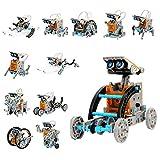 Ulikey DIY Konstruktionsspielzeug Robot Spielzeug, 12-in-1 Science Kits, Solar Roboter Bausatz, Roboter Lernspielzeug für Jungen & Mädchen Kinder Kreatives Geburtstagsgeschenk