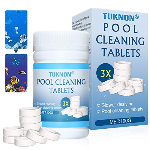 TUKNON Poolreinigungstabletten, Pool Reinigungstabletten, Pool Cleaning Tablets, Magic Poolreinigungstabletten, Pool- und Spa-Reiniger, 100 Pcs
