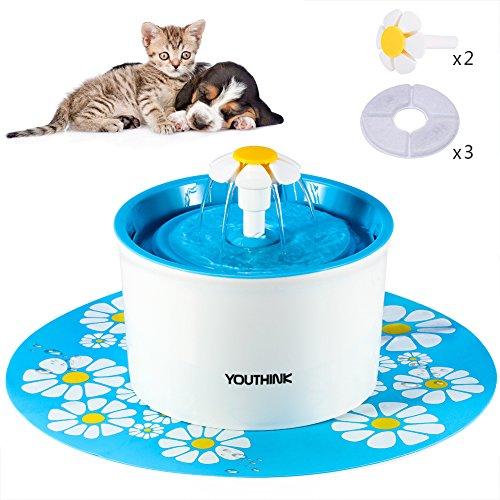 Bebedero Automático Silencio con 3 Filtros 2 Margaritas 1 Alfombra Fuente de Agua con 1.6L Circulante para Perros/Gatos Dispensador (Con alfombra)