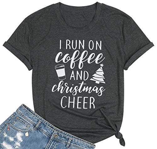 I Run On Coffee and Christmas Cheer T Shirt Womens Funny Christmas Tree Letter Print Short Sleeve Tops Tees (L, Dark Gray)