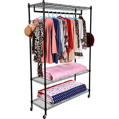 Homdox 3-Tiers Large Size Heavy Duty Wire Shelving Garment...