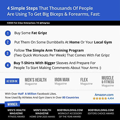 """Fat Gripz - The Simple Proven Way to Get Big Biceps & Forearms Fast (Winner of The Men's Health Magazine Home Gym Award 2020) (2.25"""" Outer Diameter)"""