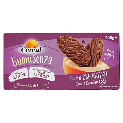 Céréal Biscotti al cioccolato senza glutine e lattosio, Biscotti Breakfast Cacao UTZ e Cioccolato, Buoni Senza - 200 g