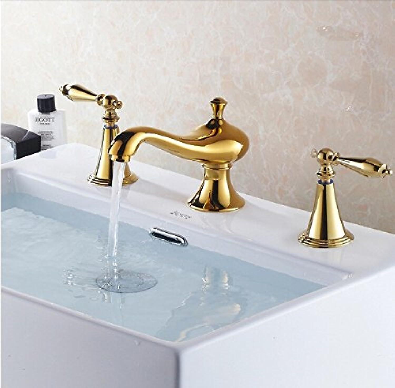 Maifeini Stilvolle Hochwertige Messing Gold Komplettes Badezimmer 8' Umfangreiche Becken Tippen Sie Auf 3 Pc Kühlkrper Kühlkrper Wasserhahn