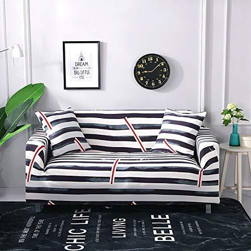 WXQY Funda de sofá elástica a Rayas Simple combinación de Funda de sofá elástica Moderna Esquina en Forma de L Funda de sofá Todo Incluido A15 4 plazas