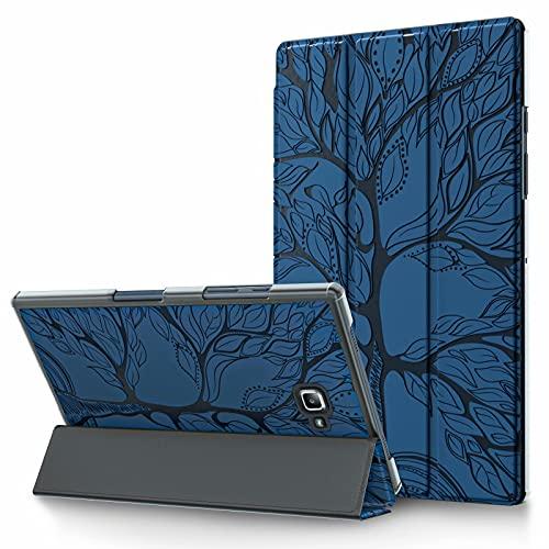TTNAO Funda para Samsung Galaxy Tab A 10.1 2016 T580/T585 Cuero PU Premium Carcasa Tablet Carcasa Auto Reposo/Estela Ranuras Diseño Anti-rasguños Case,Avanzado Arbol de la Vida Azul Real