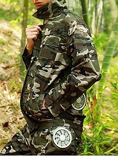 作業ジャケット 夏の暑い天気釣り高温作業ユニセックスベスト救い主カモエアコン服ポータブル冷却ファンの制服 MXLTIANDAO (Color : Camo Short shirt set, Size : L)