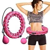 MOSRACY Hula Hoop Fitness Pneu Massage Hula Hoop ne Laisse Pas Tomber Yoga Hula Hoop Perte de Poids artefact équipement de Sport adapté aux Adultes et aux Enfants (Rose + Boule d'inertie)