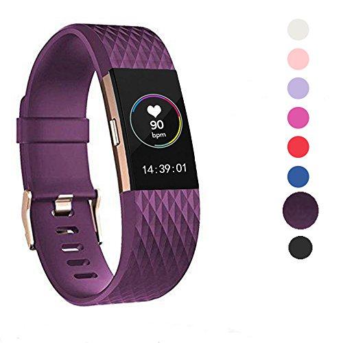 Für Fitbit Charge 2 Zubehör Armband, Wearlizer Silikon Ersatz Bands Für Fitbit Charge 2 Special Edition Lavendel Rose Gold (Dunkelviolett)