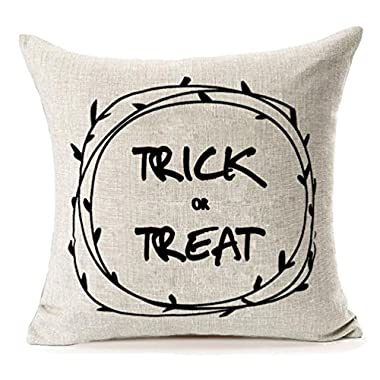 MFGNEH Halloween Home Decor Trick or Treat Cotton Linen Pillow Covers 18x18, Throw Pillow Case Cushion Cover for Sofa
