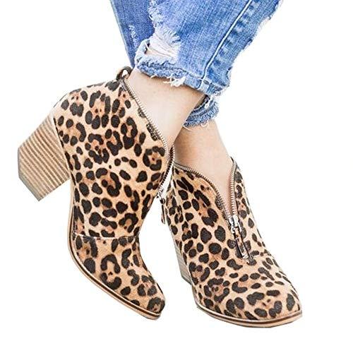 LYYJF Damen-Stiefel, knöchelhoch, Herbst, Winter, Leopardenmuster, modischer Reißverschluss, Leopardenmuster, Größe 37