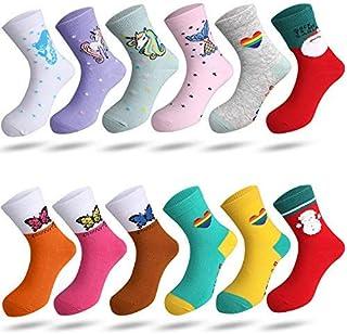 Rovtop 12 paires de Chaussettes pour Filles, 67% Coton, Chaussettes de Dessin Animé Mignon pour Enfants, Chaussettes Color...