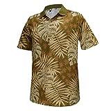 Monterey Club Men's Forest Leaves Print Polo Shirt #1688 (Khaki/Wood Ash, 2X-Large)