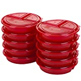 Good Cook Meal Prep on Fleek, 3 Compartments BPA Free, Microwavable/Dishwasher/Freezer Safe, Red