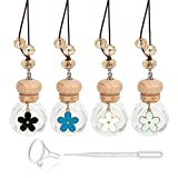 10ml Car Hanging Perfume Air Freshener Diffuser,Essential Oil Flower-Style Pendant Perfume Vials,Thick Clear Glass Fragrance Container With Wooden Caps & Hanging String,FREE Funnel,Dropper-Pack of 4