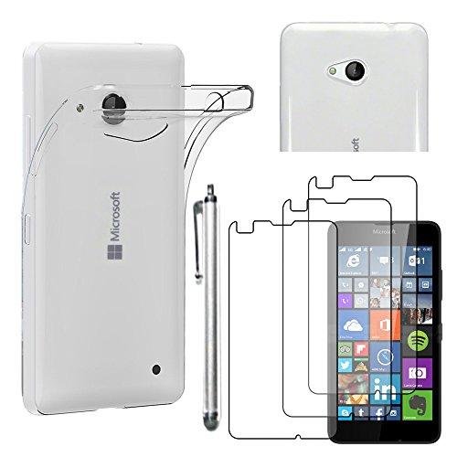 ebestStar - kompatibel mit Microsoft Lumia 640 Hülle 640 LTE Dual Handyhülle [Ultra Dünn], Klar Schutzhülle, Soft Flex Silikon +Stift +3 Schutzfolies, Transparent [Lumia 640:141.3x72.2x8.8mm 5.0