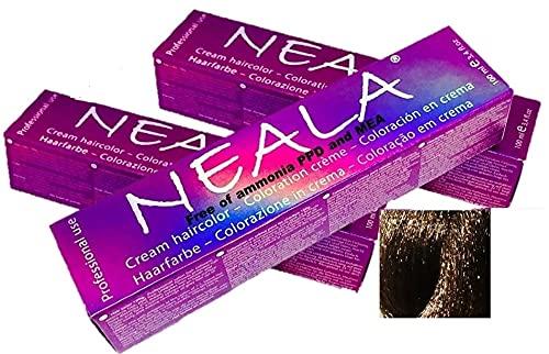 Pack 3 Tintes de pelo profesional sin amoniaco, PPD ni MEA. Neala coloración permanente - 3 x 100ml. (06- RUBIO OSCURO NATURAL))