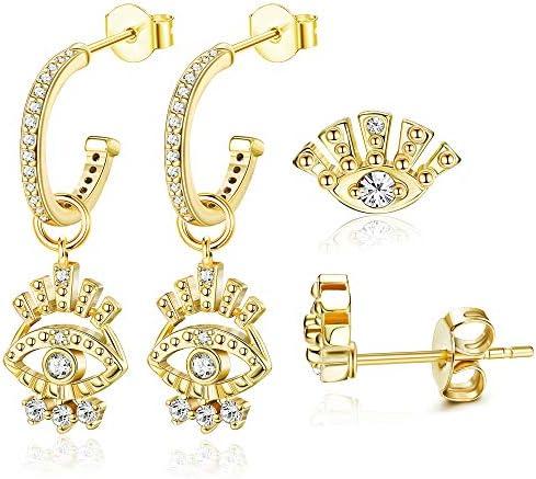 Subiceto 2 Pcs Evil Eye CZ Huggie Hoop Dangle Earrings Set for Women Small CZ Evil Eye Stud product image