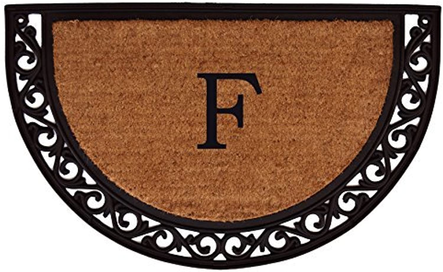 Home & More 100102436F Ornate Scroll Monogram Doormat 2-Feet X 3-Feet (Letter F)