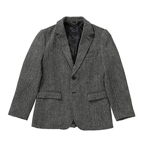 [ヘリンボーンクラブ] ハリスツイード ジャケット メンズ ウールジャケット (グレー, M)