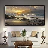 KWzEQ Escandinavo Atardecer Playa Paisaje Pared Arte Cartel océano Ola Sala de Estar Moderno Paisaje Marino Pared,Pintura sin Marco,30x60cm