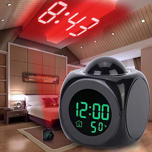 Digitale Projektion mit Temperaturanzeige Wecker, Projektionsuhr, Multifunktional für Schlafzimmerschüler