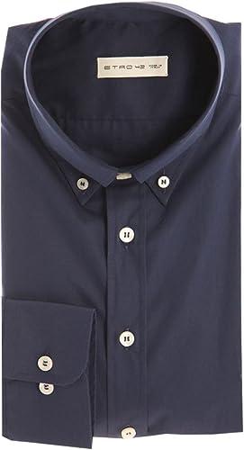 Etro bleu Button Down Shirt in Poplin Cotton, Homme.