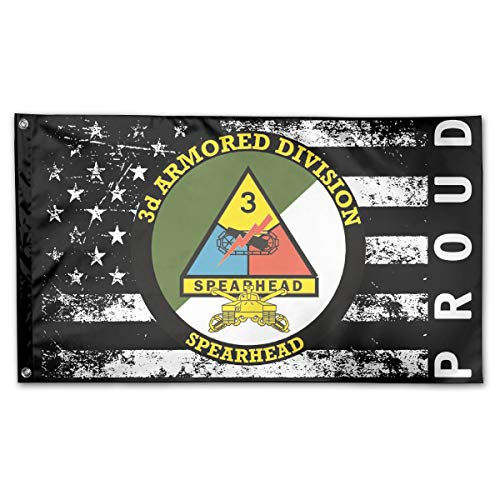 P-flager Proud American Flag with 3rd Armored Division with Sabres Flag 3x5 Ft