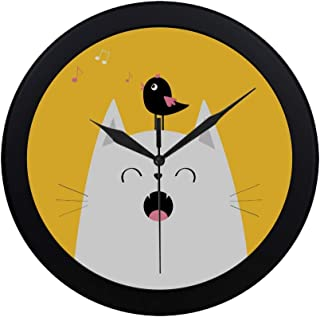 APJDFNKL Modern Simple White Cat Face Silhouette Meowing Singing Wall Clock Indoor Movement Wall Clcok for Office,Bathroom,livingroom Decorative 9.65 Inch