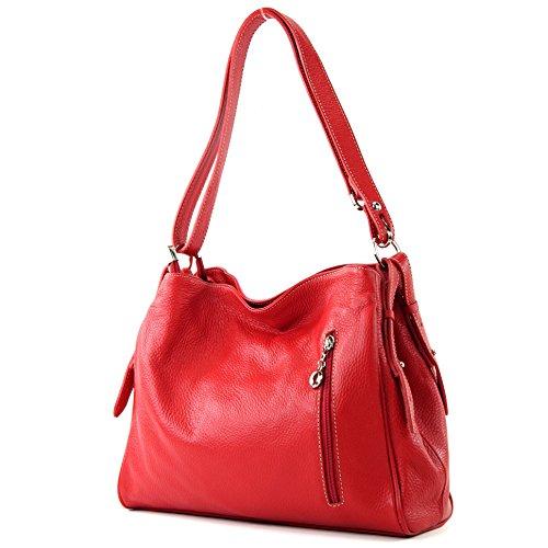 modamoda de - T119 - ital Schulter-/Umhängetasche aus Leder, Farbe:Rot