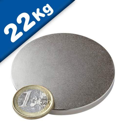 Scheibenmagnet Neodym Magnet-Scheibe Rundmagnet - Ø 60 x 5 mm – Neodym N42 (NdFeB) Nickel - Haftkraft: 22kg - extra starke Dauermagnete (Permanentmagnete) Supermagnete für Industrie und Zuhause