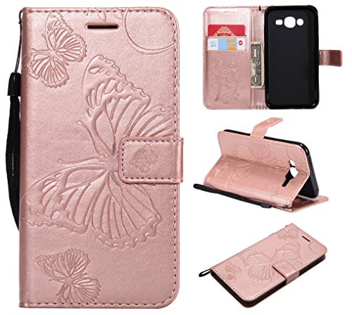 Kihying Case per Samsung Galaxy J5 2015 / J500 Cover Custodia (KT/3D Farfalla Fiore) Antiurto Caduta PU Pelle Custodia per Cellulare (Oro Rosa)