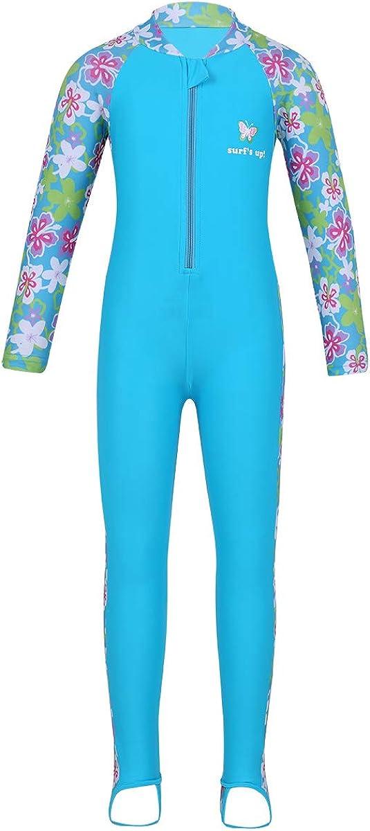 JEATHA Kids Girls One Piece Swimsuit Zipper Max 87% OFF Jacksonville Mall B Floral Long Sleeve